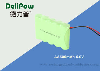 China 600mAh 6 AA Rechargeable Battery Pack , 6v Nimh Battery Pack For LED Lighting supplier